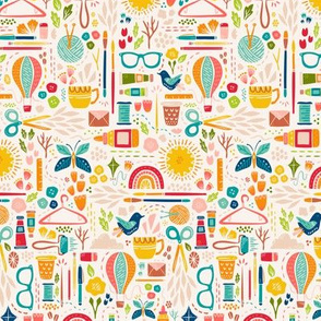 Small Scale Create Joy // Happy Maker Fabric // © ZirkusDesign // Art, Sewing, Quilting, Crafting, Knitting, Sunshine, Butterfly, Rainbow, Coffee, Printmaking, Hot Air Balloon, Floral, Bird