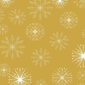 snow flakes gold background
