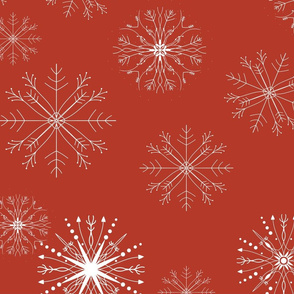 snow flakes red background