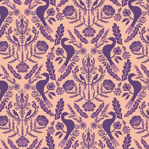 Damask two birds - medium