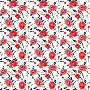 RED PEONIES WITH NAVY LEAVES SCRATCHED BACKGROUND BEIGE small
