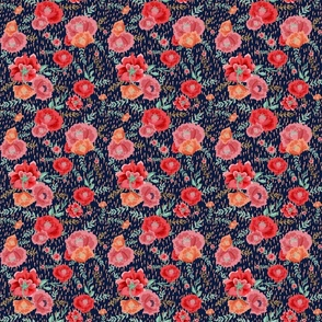 CORAL PINK PEONIES CORAL RAIN NAVY BACKGROUND small