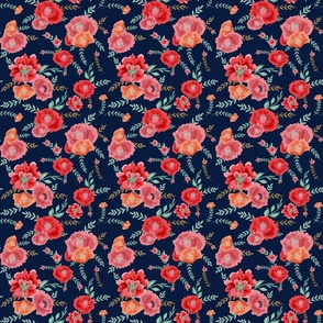 RED PINK ORANGE PEONIES ON PLAIN BLUE NAVY BACKGROUND small