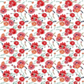 RED AND ORANGE PEONIES PLAIN WHITE BACKGROUND small