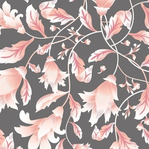 REIMAGINED DAMASK CORAL GREY FLOWERS