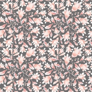 REIMAGINED DAMASK CORAL GREY FLOWERS small scale