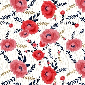 RED PEONIES WITH NAVY LEAVES SCRATCHED BACKGROUND BEIGE