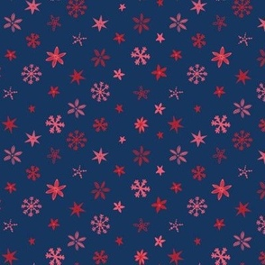 Christmas Stars - Red, pink and navy