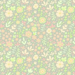 Floral  - Pale olive green