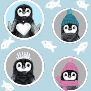 Baby Penguins' Hats And Hearts