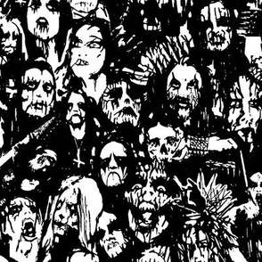 Black Metal Corpse Paint Hand Drawn Collage