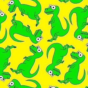 Cute T-Rex multi directional on yellow