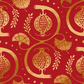 Pomegranate Damask in Gold on Red
