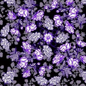 Peonies and Paisley Purple on Black
