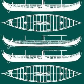 Blue green shadow white Gokstad Long - Ship