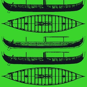 BRIGHT GREEN Gokstad Long - Ship