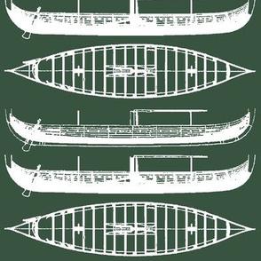 deep green shadow white Gokstad Long - Ship