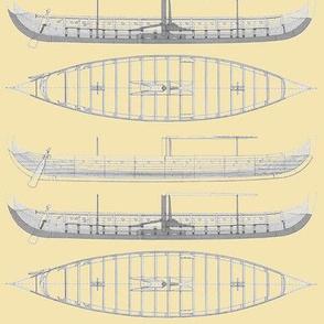 Light yellow Gokstad Long - Ship
