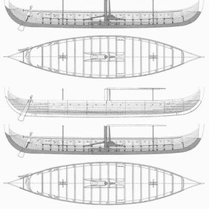 lightest grey Gokstad Long - Ship