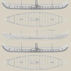 lightest tan Gokstad Long - Ship