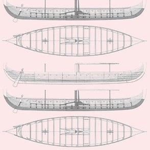 pink pastel Gokstad Long - Ship