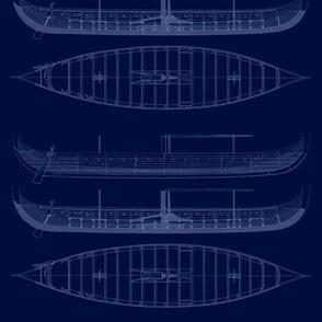 Blue  white Black Gokstad Long - Ship
