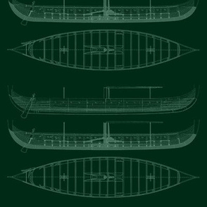 Green white Black Gokstad Long - Ship