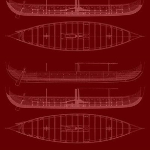 RED white Black Gokstad Long - Ship