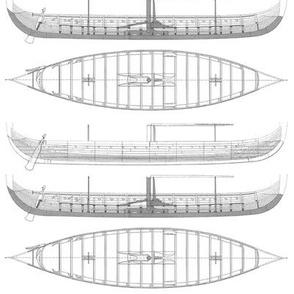white Gokstad Long - Ship