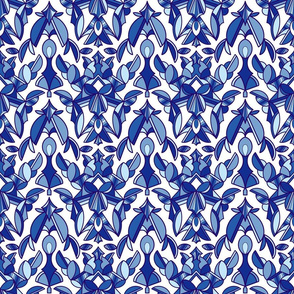 Damask in Blue and White