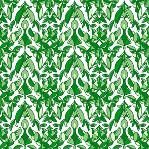 Damask in Green and White
