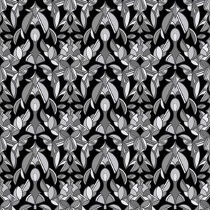 Damask in Black and Gray