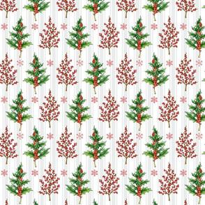 Holly Trees on Gray Stripes
