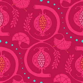 Pomegranate Damask in Pink