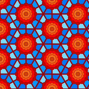 Geometric bullseye blooms -  red and blue