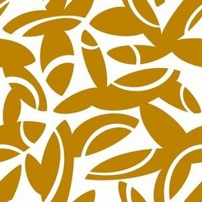Midcentury Petals in Mustard on White