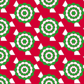 Geometric bullseye blooms - green and red