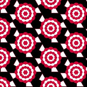 Geometric bullseye blooms - black, white and red