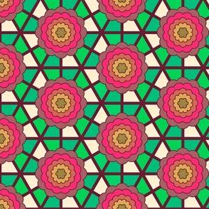 Geometric bullseye blooms - green and pink