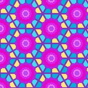 Geometric bullseye blooms - purple and aqua