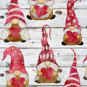 Valentine Gnomes on Shiplap - large scale