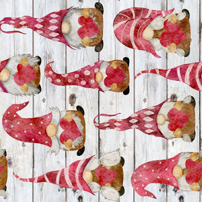 Valentine Gnomes on Shiplap Rotated - large scale