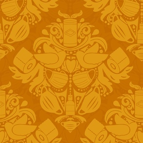 COVID daMASK in Gold, Light on Dark, Large
