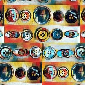 Antique Button Stripes n Orange & Teal