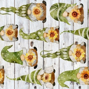 Gnomes with Sunflowers on Shiplap Rotated - large scale