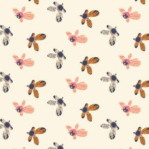Quirky Cross Hatch Flowers Scatter Cream