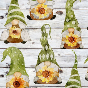Gnomes with Sunflowers on Shiplap - large scale