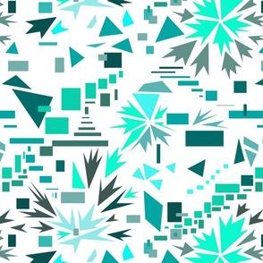 geometric movement, white and cyan