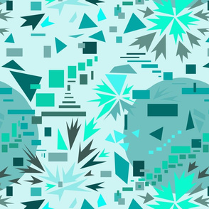 Cyan and green geometric movement 5