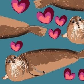 Bearded seal blue pattern